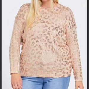 PRINTED LONG SLEEVE ROUND NECK SWEATER PLUS